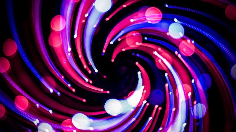 Lights Bokeh, Spiral, Long exposure, Black background, Pattern, 5K, Wallpaper