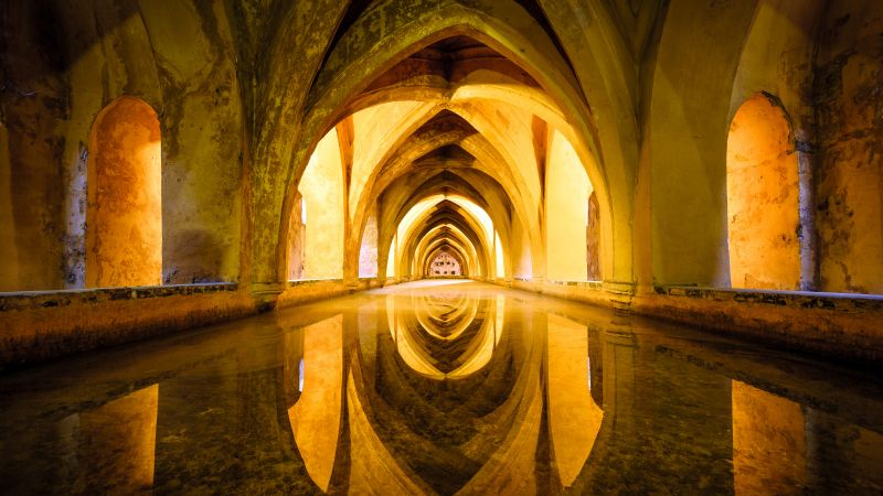 Architecture, Ancient, Real Alcazar of Seville, Royal palace, Spain, 5K, Wallpaper
