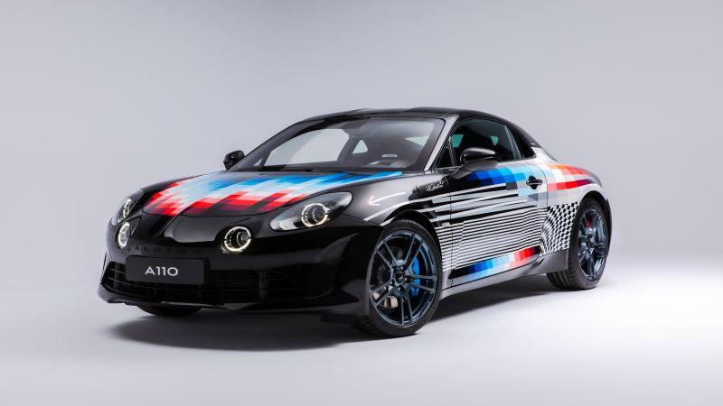 Alpine A110 x Felipe Pantone, Art Car, 2021, 5K, White background, Wallpaper