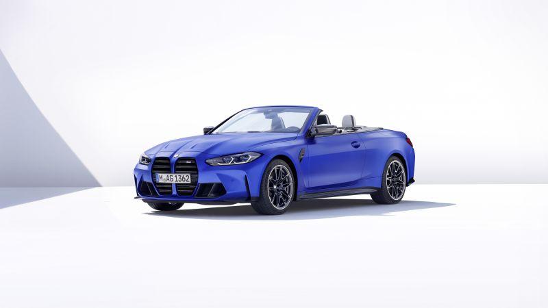BMW M4 Competition M xDrive, Convertible, 2021, White background, 5K, Wallpaper