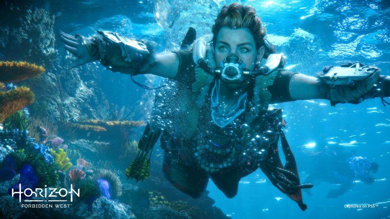 Horizon Forbidden West, Aloy, Underwater, PlayStation 4, PlayStation 5, Gameplay, Wallpaper