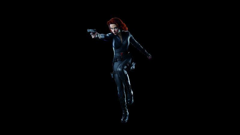 Black Widow, Scarlett Johansson, Black background, 5K, 8K, Wallpaper