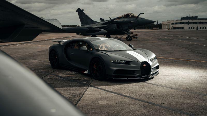 "Bugatti Chiron Sport ""Les Légendes du Ciel"", Dassault Rafale, Hyper Sports Cars, 2021, 5K, 8K, Wallpaper"