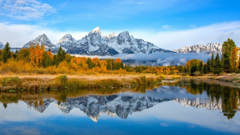 Grand Teton National Park, Mountains, Teton mountain range, Autumn, Lake, Reflection, Blue Sky, Landscape, Scenery, Wallpaper