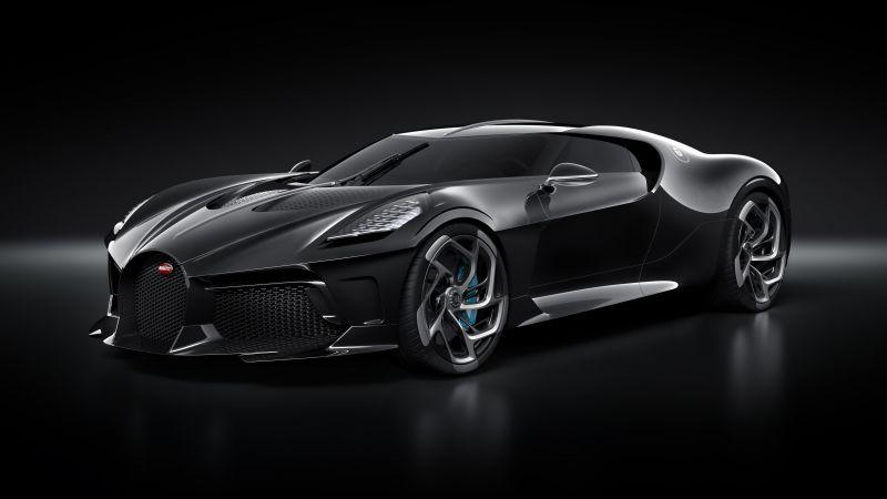Bugatti La Voiture Noire, World's Expensive Cars, Hypercars, Black background, 5K, Wallpaper