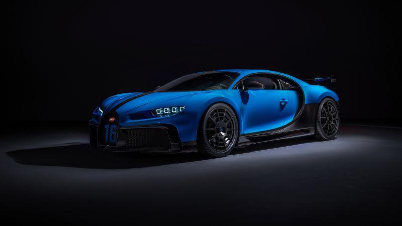 Bugatti Chiron Pur Sport, Sports cars, Hypercars, Black background, 5K, Wallpaper