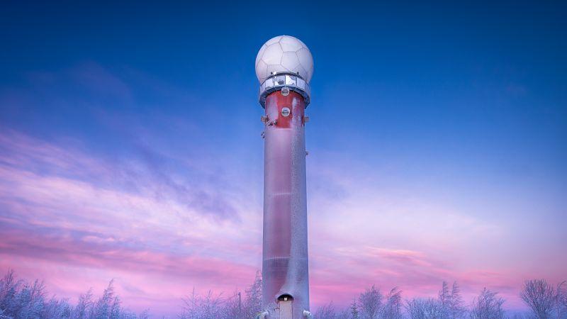 Radar Tower, Winter, Snow covered, Purple sky, Sunrise, Frost, Dawn, 5K, Wallpaper