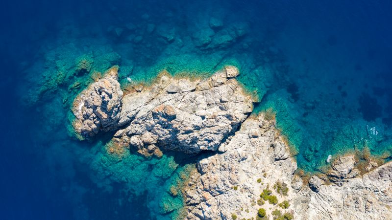 Rocky coast, Seashore, Blue Ocean, Aerial view, 5K, Wallpaper