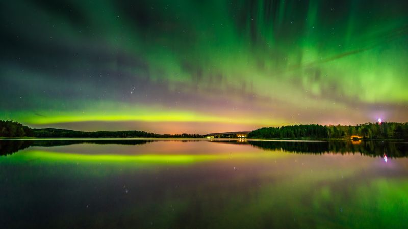 Aurora Borealis, Northern Lights, Finland, Green Sky, Natural Phenomena, Lake, Reflection, Landscape, Dusk, 5K, 8K, Wallpaper