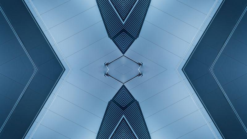 X Illustration, Ceiling, Mirrored, Architecture, Indoor, Symmetrical, Pattern, 5K, 8K, Wallpaper