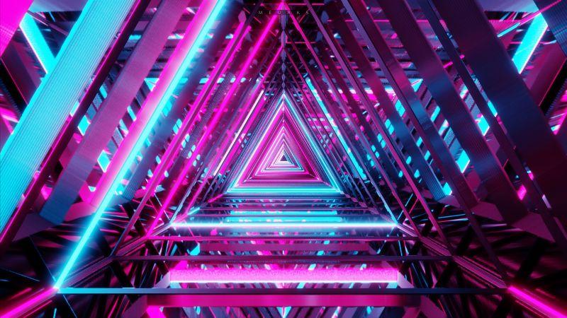 Neon Triangle, Vanishing point, Pattern, Purple, Shape, Geometrical, 5K, 8K, Wallpaper