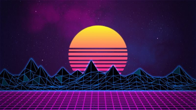 Retrowave, Synthwave, Vaporwave, Digital Art, Neon art, Purple background, Pattern, Wallpaper