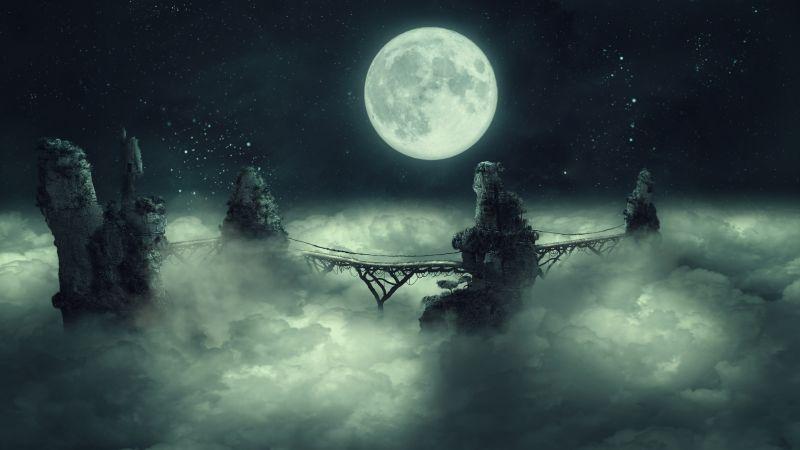 Full moon, Dark Sky, Clouds, Bridge, Starry sky, Surreal, Cliffs, Mystic, Illustration, 5K, Wallpaper