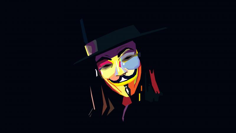 Anonymous, Illustration, Dark background, Minimal art, 5K, 8K, Wallpaper
