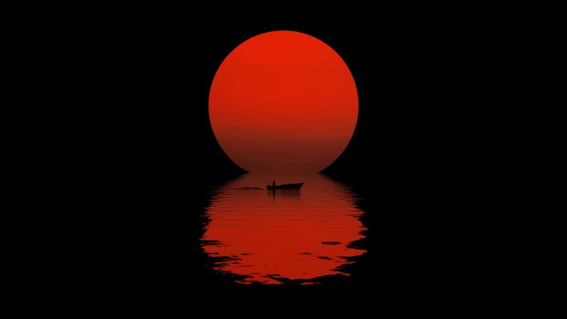 Sun, Boat, Reflection, Night, Silhouette, Dark, Body of Water, AMOLED, 5K, 8K, Wallpaper
