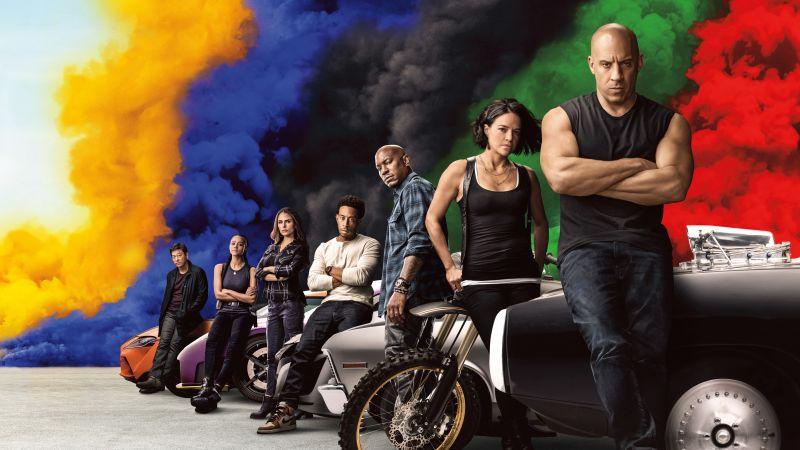 Fast & Furious 9, Vin Diesel, Jordana Brewster, Ludacris, Michelle Rodriguez, Tyrese Gibson, Nathalie Emmanuel, 2021 Movies, Action movies, 5K, 8K, Wallpaper