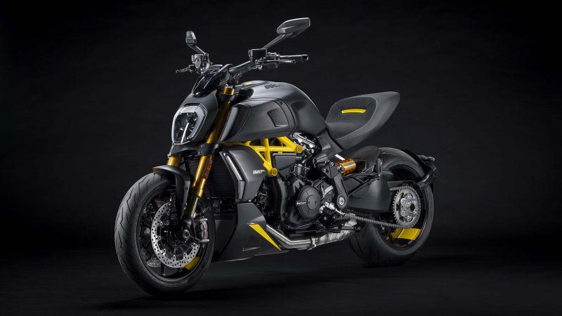 Ducati Diavel 1260 S Black and Steel, Sports bikes, 2021, Dark background, Wallpaper