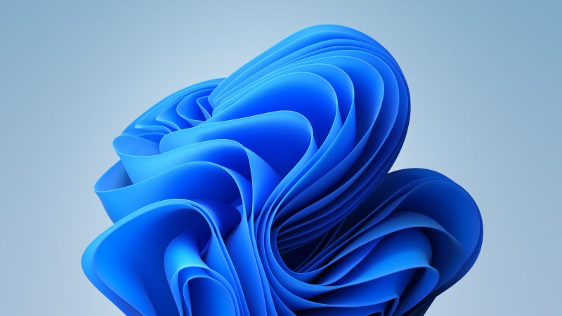 Windows 11, Blue, Stock, White background, Light, Official, Wallpaper
