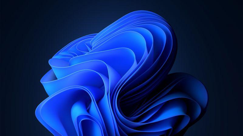 Windows 11, Dark Mode, Blue, Stock, Official, Wallpaper
