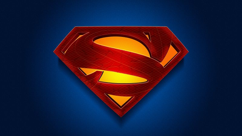 Superman, Logo, DC Superheroes, Blue background, Wallpaper
