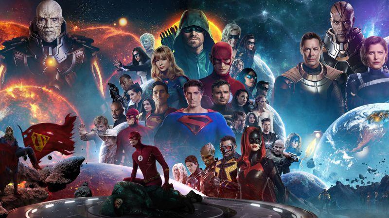 Crisis on Infinite Earths, TV series, Crossover, Supergirl, Batwoman, The Flash, Arrow, Legends of Tomorrow, DC Comics, DC Superheroes, 5K, Wallpaper