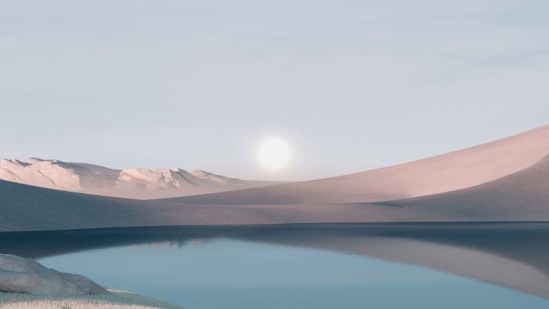 Windows 11, Desert, Landscape, Scenery, Sunrise, Stock, Day light, Wallpaper