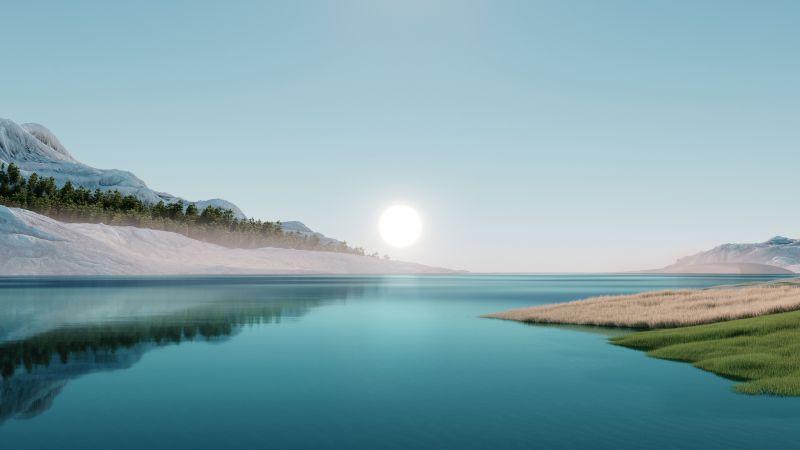 Windows 11, Landscape, Scenery, Sunrise, Stock, Day light, Wallpaper