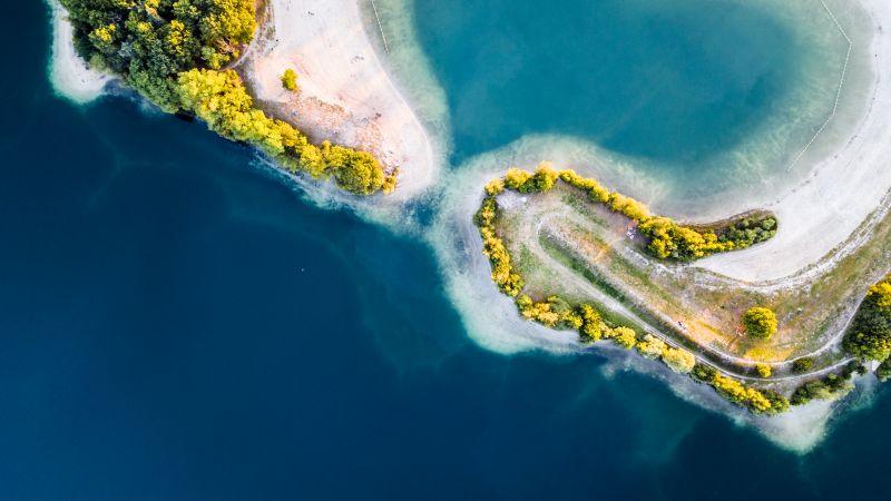 Heart Shaped Lake, Aerial view, Galder, Netherlands, Tropical, Birds eye, Blue Water, Wallpaper