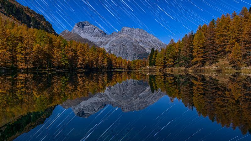 Lai da Palpuogna, Switzerland, Mirror Lake, Star Trails, Autumn trees, Albula Pass, Landscape, Long exposure, Night sky, Reflection, Mountain View, Wallpaper