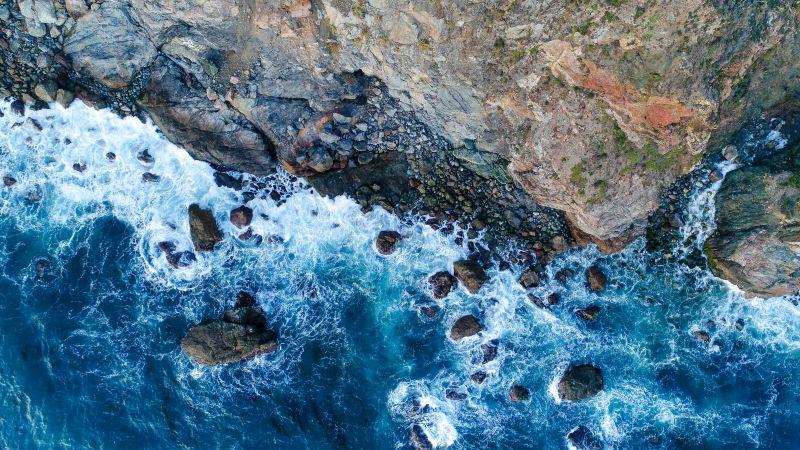 Rocky coast, Big Sur, Aerial view, Beach, Blue waves, Long exposure, 5K, Wallpaper
