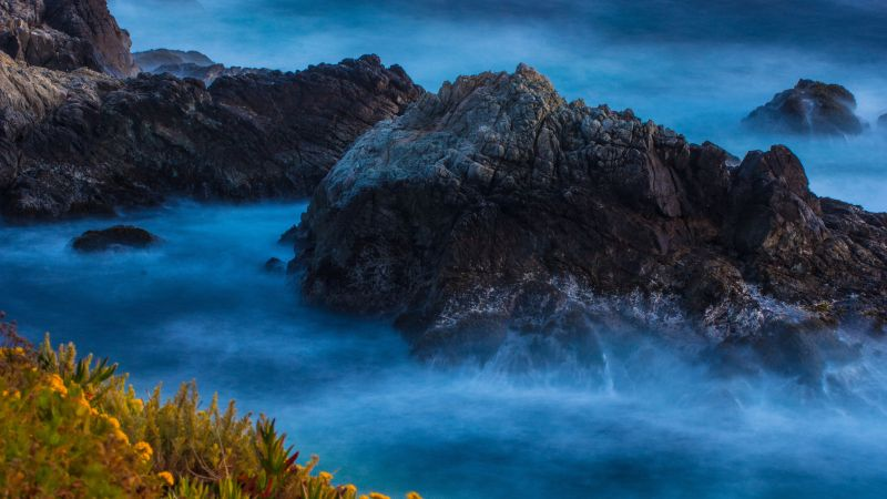 Rocky coast, Water waves, Big Sur, Beach, Long exposure, 5K, Wallpaper