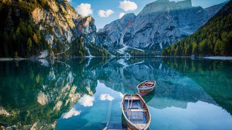 Wooden boat, Mirror Lake, Reflection, Mountain View, Pond, Landscape, Scenery, Wallpaper