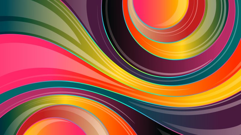 Colorful background, Waves, Lines, Glossy, Multicolor, 5K, Wallpaper