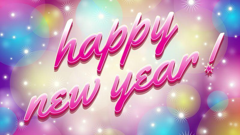 Happy New Year, Pink, Beautiful, Bright, 5K, Wallpaper