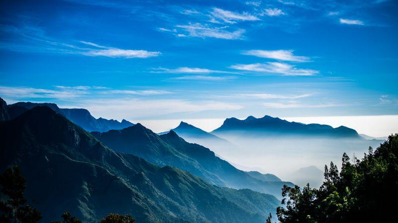 Mountain range, Hills, Sunrise, Foggy, Early Morning, Blue Sky, Landscape, Wallpaper