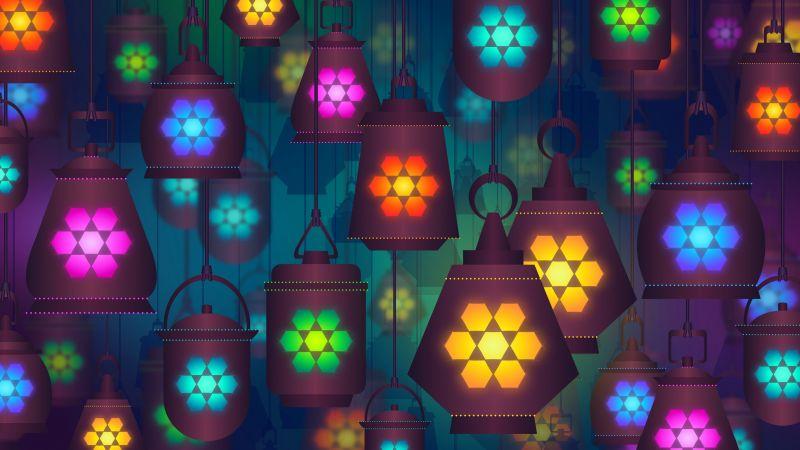 Lanterns, Lamps, Colorful background, Digital Art, Illustration, Wallpaper