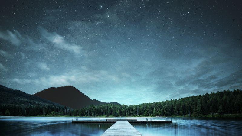 Jetty, Lake, Night sky, Landscape, 5K, 8K, Wallpaper