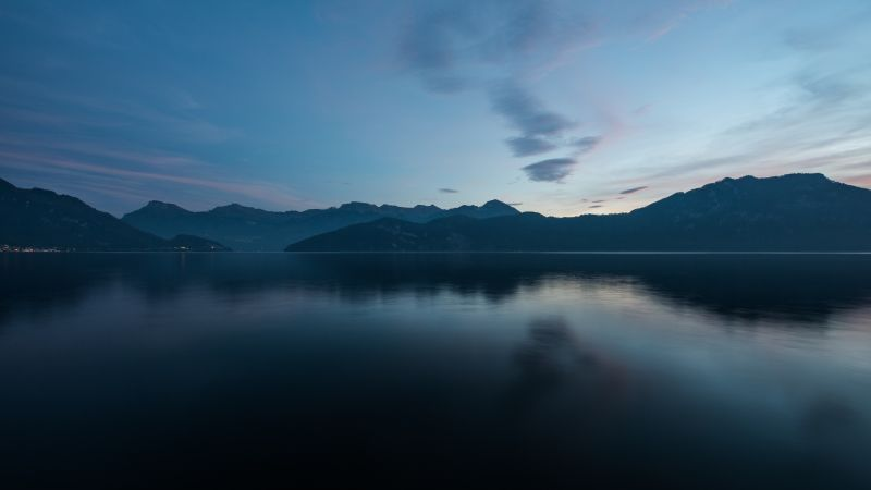 Landscape, Morning, Dawn, Tranquility, Scenery, Mountains, River, Switzerland, 5K, 8K, Wallpaper