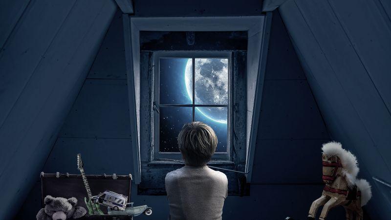 Look through the Window, Full moon, Attic, Roof, Boy, Teddy bear, Toy Horse, Memories, Childhood, 5K, Wallpaper