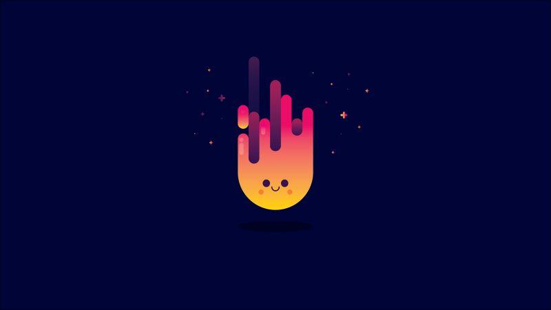 Smiley, Fire, Minimal art, Illustration, Dark background, Wallpaper