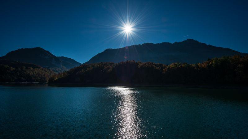 Sunny day, Daytime, Landscape, Sun rays, River, Mountains, 5K, 8K, Wallpaper