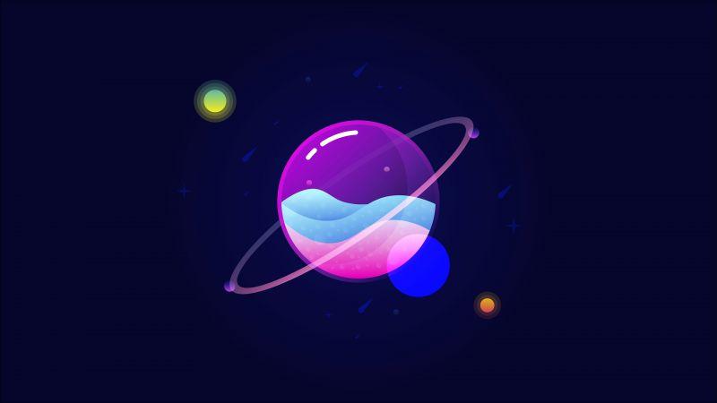 Planets, Colorful, Gradients, Orbit, Minimal art, Illustration, Dark background, Wallpaper