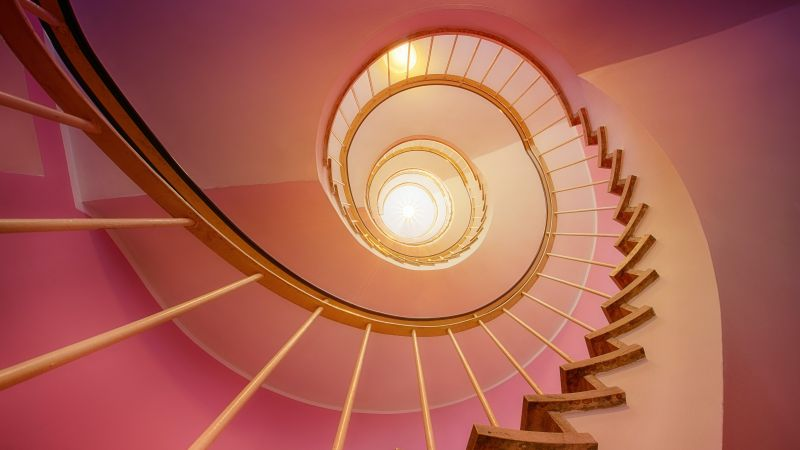 Spiral stairs, Pink, Staircase, Ambient lighting, 5K, Wallpaper