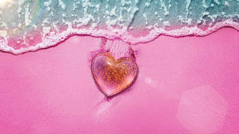 Love heart, Beach, Pink background, Pink Heart, Aerial view, Girly backgrounds, Wallpaper