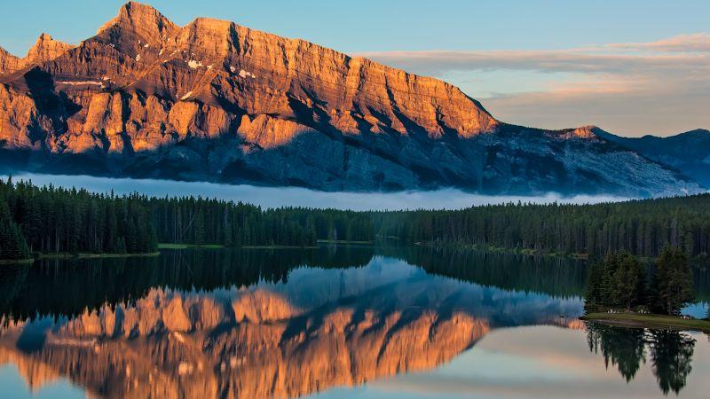 Lake Minnewanka, Sunrise, Canadian Rockies, Brown Mountains, Reflection, Mountain range, Landscape, Wallpaper