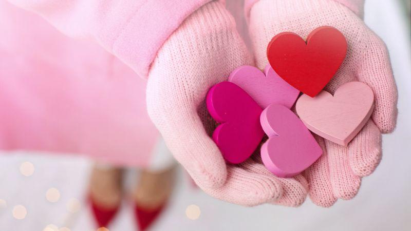 Hearts, Valentine's Day, Love, Pink, Hand Gloves, Heart shape, 5K, Wallpaper