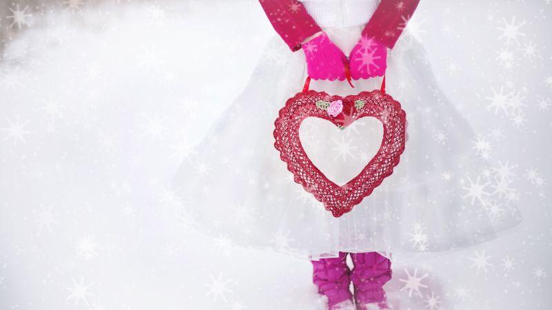 Valentine, Girl, Red heart, Love heart, Romantic, Valentine's Day, Girly, Snow, Winter, 5K, Wallpaper