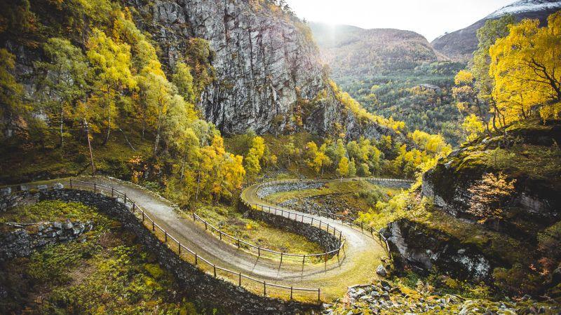 Filefjell Kongevegen, Norway, Trails, Dirt road, Greenery, Mountains, Landscape, Wallpaper