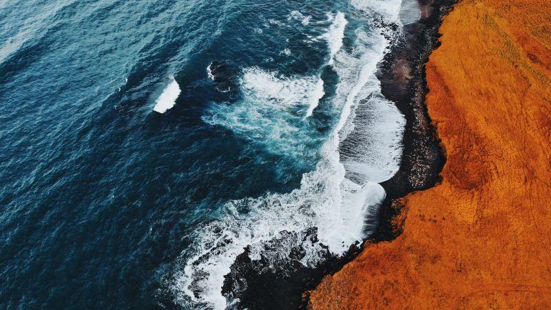 Coastline, Aerial view, Birds eye view, Sea waves, Cliffed coast, Snæfellsnesvegur, Iceland, Landscape, Scenic, 5K, Wallpaper