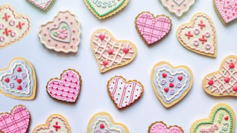 Cookies, Heart shape, Valentine's Day, Romantic, Pink, Wallpaper